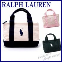 POLO RALPH LAUREN Unisex Canvas Street Style Bi-color Plain Totes