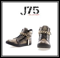 J75 by JUMP Faux Fur Chain Python Sneakers