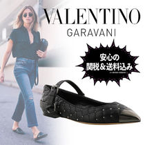 VALENTINO Leather Elegant Style Slip-On Shoes