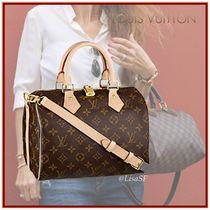 Louis Vuitton SPEEDY Monogram Canvas Blended Fabrics 3WAY Bi-color Elegant Style