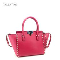 VALENTINO Studded 2WAY Plain Leather Elegant Style Handbags