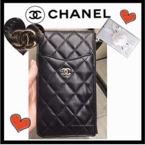 CHANEL MATELASSE Unisex Lambskin Plain Wallets & Small Goods