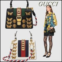 GUCCI Sylvie Blended Fabrics 2WAY Chain Leather Elegant Style Handbags