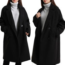 Casual Style Wool Studded Long Duffle Coats
