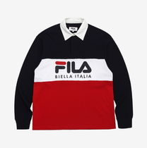 FILA Unisex Street Style Long Sleeves Plain Cotton Polos