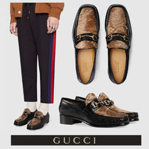 GUCCI Loafers Fur Blended Fabrics Plain U Tips Loafers & Slip-ons