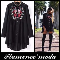 Flower Patterns Casual Style Long Sleeves Long