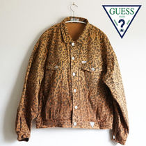 Guess Leopard Patterns Casual Style Medium Jackets