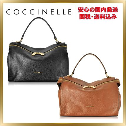 Unisex 2WAY Plain Leather Elegant Style Handbags