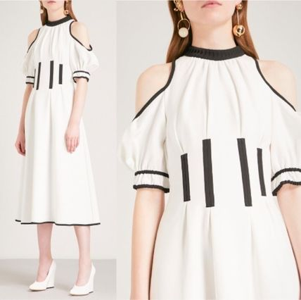 Flared Medium Party Style High-Neck Dresses