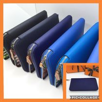 HERMES Jige Plain Leather Long Wallets