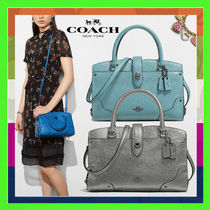 Coach MERCER Cloud Blue Grained Leather Mercer Satchel 24 Bag