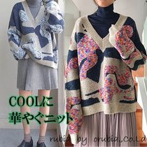 Cable Knit Flower Patterns Camouflage Casual Style