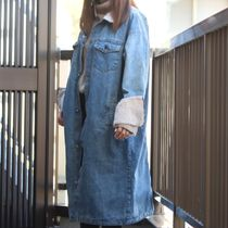 Denim Street Style Bi-color Plain Medium Parkas