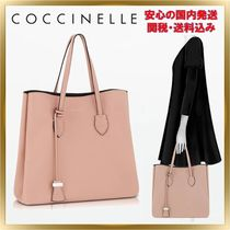 COCCINELLE Plain Leather Office Style Totes
