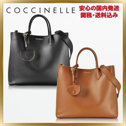 Unisex 2WAY Plain Leather Office Style Totes