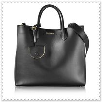 COCCINELLE Unisex 2WAY Plain Leather Office Style Crossbody Totes
