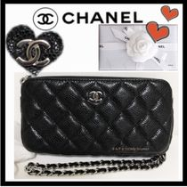 CHANEL CHAIN WALLET Casual Style 3WAY Chain Plain Leather Shoulder Bags