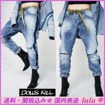 DOLLS KILL Casual Style Denim Street Style Plain Long Jeans
