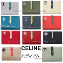 CELINE Strap Calfskin Bi-color Plain Folding Wallets