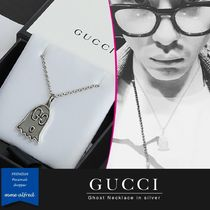 GUCCI Gucci Ghost Unisex Street Style Chain Silver Necklaces & Chokers