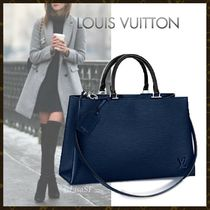 Louis Vuitton EPI Blended Fabrics 3WAY Plain Leather Elegant Style Handbags