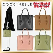 COCCINELLE Unisex Bag in Bag Plain Leather Office Style Totes