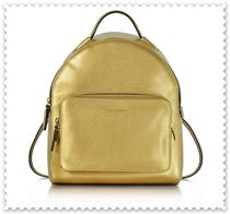 COCCINELLE Casual Style Unisex 2WAY Plain Leather Backpacks