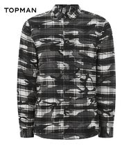 TOPMAN Other Check Patterns Camouflage Street Style Long Sleeves