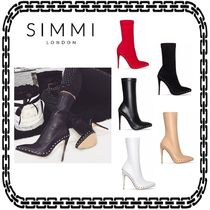 SIMMI Suede Plain Pin Heels Elegant Style Ankle & Booties Boots