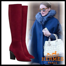 HERMES Plain Toe Plain Leather Block Heels Elegant Style