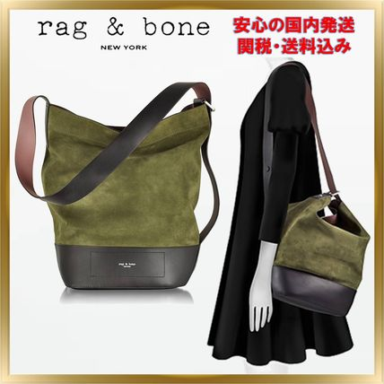 Casual Style Unisex Suede Plain Totes