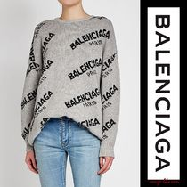 BALENCIAGA Crew Neck Casual Style Unisex Wool Long Sleeves Plain Medium