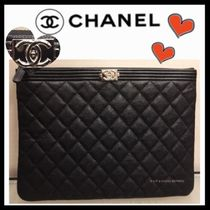 CHANEL BOY CHANEL Casual Style Unisex Calfskin Bag in Bag Plain Clutches