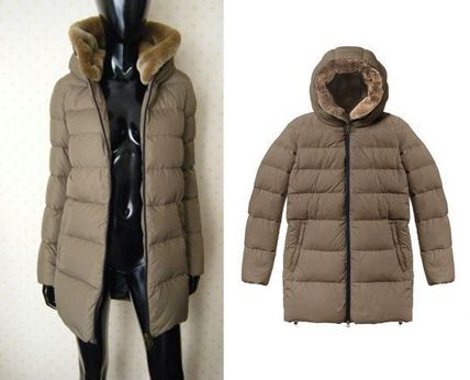 Fur Plain Down Jackets
