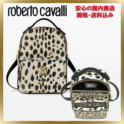 Leopard Patterns Casual Style Unisex Leather Backpacks