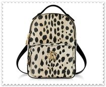 Roberto Cavalli Leopard Patterns Casual Style Unisex Leather Backpacks