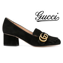 GUCCI GG Marmont Round Toe Casual Style Suede Plain Block Heels