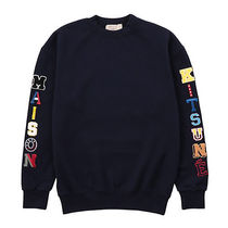 MAISON KITSUNE Unisex Long Sleeves Cotton Logos on the Sleeves Sweatshirts