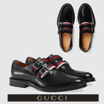 GUCCI Plain Toe Monk Plain Leather Loafers & Slip-ons