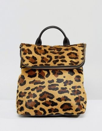 Leopard Patterns Casual Style 2WAY Leather Backpacks