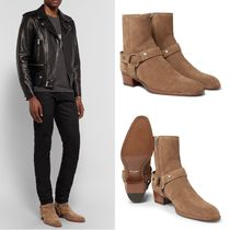 Saint Laurent Plain Toe Suede Plain Chukkas Boots