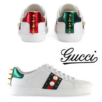 GUCCI Stripes Rubber Sole Casual Style Leather Low-Top Sneakers