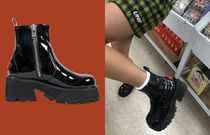 UNIF Clothing Round Toe Enamel Plain Ankle & Booties Boots