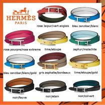 HERMES Leather Elegant Style Bracelets