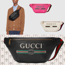 GUCCI Stripes Blended Fabrics Street Style 2WAY Plain Leather