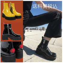 UNIF Clothing Round Toe Plain Block Heels Boots Boots