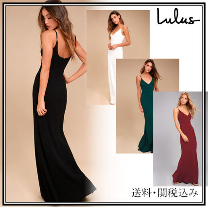 A-line Sleeveless V-Neck Plain Long Elegant Style Dresses