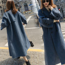Casual Style Wool Plain Long Trench Coats