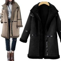 Casual Style Faux Fur Studded Long Fur Leather Jackets